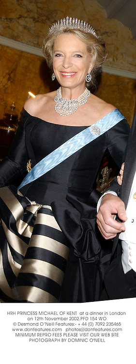 HRH PRINCESS MICHAEL OF KENT  at a dinner in London on 12th November 2002.	PFD 154 WO