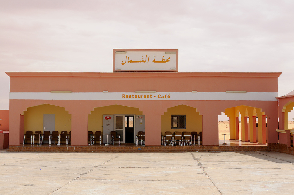 Service station and restaurant right in the desert, between Nouadhibou and Nouakchott, Western Africa, Mauretania, Africa