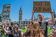 The London-Irish abortion rights group demands fair womens rights - A day after the election result protestors gather to ask for Theresa May to quit and not do a deal with the DUP. Who people fear because of their views on abrtion, gay marriage etc. Westminster, London, 10 Jun 2017