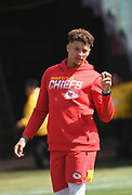 Sep 15, 2019; Oakland, CA, USA; Kansas City Chiefs quarterback Patrick Mahomes (15) before the game against the Oakland Raiders at Oakland-Alameda County Coliseum. The Chiefs defeated the Raiders 28-10..(Gerome Wright/Image of Sport)