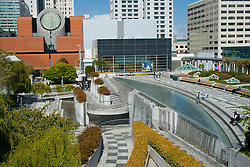 United States, California, San Francisco, Museum of Modern art and plaza, with big pool and fountain