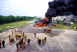 Stock photo of a Houston Fire Department training school preparing for an exercise