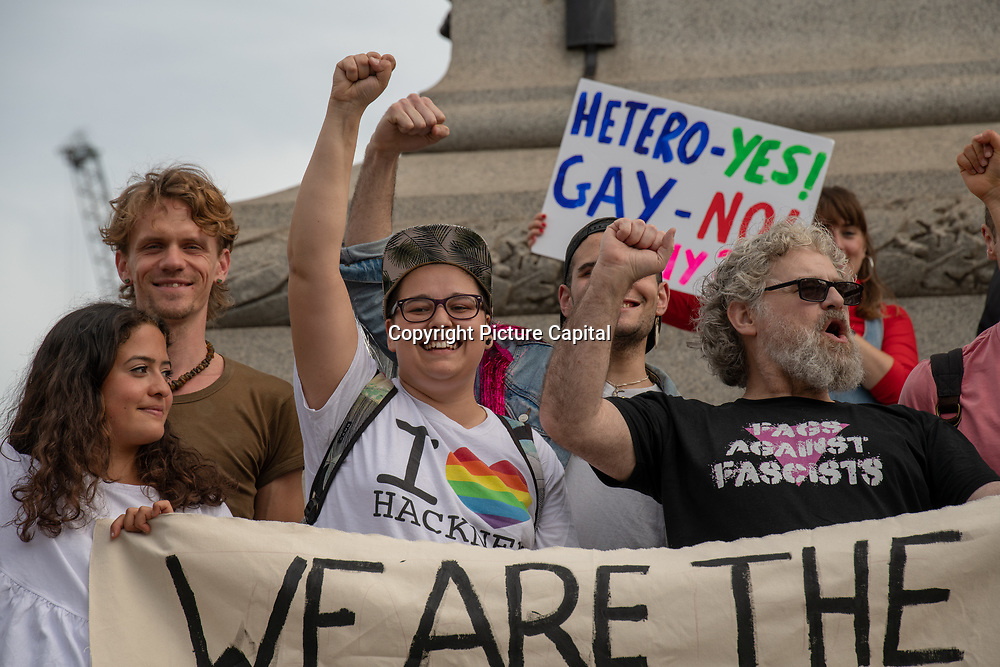 Photoshoot its fifty years since the Stonewall Uprising and next year it will be fifty years since the Gay Liberation Front reached London on 17 June 2019, Trafalgar Square, UK.
