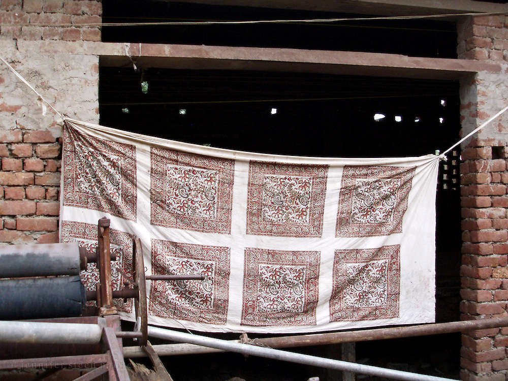 Hand-printed fabric hung to dry at a workshop in Bagru, Rajasthan.