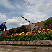 A Drake University student scoots around the campus sundial at Wifvat Plaza on roller blades.  The private University in Des Moines, Ia., has been lauded for it's outstanding programs in the arts in addition to having one of the best law schools and pharmacy departments in the country.