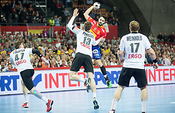 Raul Entrerrios of Spain vs Hendrik Pekeler of Germany during handball match between National teams of Spain and Germany on Day 2 in Preliminary Round of Men's EHF EURO 2016, on January 15, 2016 in Centennial Hall, Wroclaw, Poland. Photo by Vid Ponikvar / Sportida