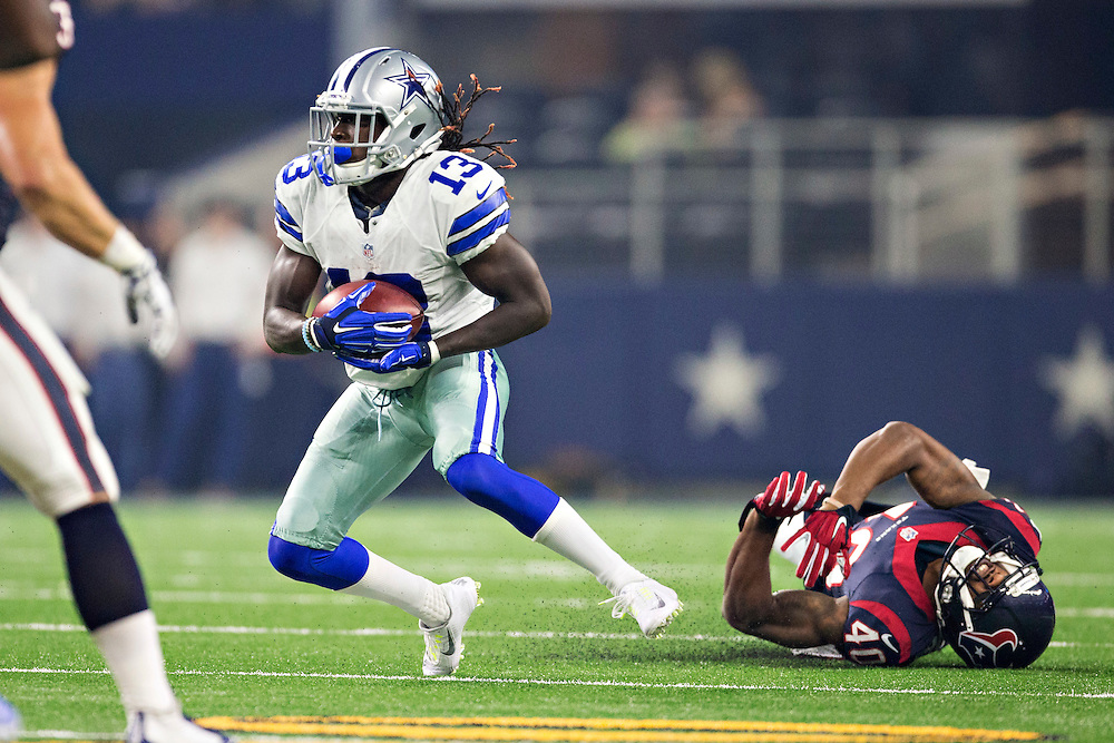 ARLINGTON, TX - SEPTEMBER 3:  Lucky Whitehead #13 of the Dallas Cowboys runs the ball during a preseason game against the Houston Texans at AT&T Stadium on September 3, 2015 in Arlington, Texas.  The Cowboys defeated the Texans 21-14.  (Photo by Wesley Hitt/Getty Images) *** Local Caption *** Lucky Whitehead