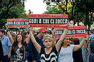 Roma 17 Luglio 2014<br /> Manifestazione contro gli sgomberi degli spazi occupati e autogestiti e contro lo sgombero dell'ex cinema Volturno, spazio sociale storico da oltre sei anni sede politica del Coordinamento Cittadino di Lotta per la Casa, e con il  teatro auto-gestito.<br /> Rome July 17, 2014 <br /> Demonstration against evictions of spaces occupied and self-managed and against the eviction of the former cinema Volturno, historical social space for over six years political headquarters of the Coordination of Urban Struggle for Housing,   and with the self-managed theater.