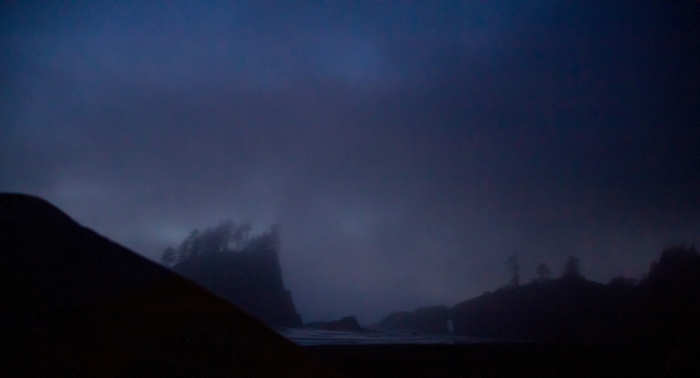 Mist surrounds Sea Stacks at Second Beach