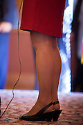 17 OCTOBER 2011 - PHOENIX, AZ:The legs of MICHELE BACHMANN, a Republican candidate for US President, while she stands at a podium to talk to members of the Arizona legislators at the State Capitol in Phoenix. Bachmann met with Republican Arizona legislators and Republican members of the state's Congressional delegation Monday morning to talk about illegal immigration and border security. During the meeting she pledged that if she were elected US President, she would construct a fence along the US - Mexico border.   PHOTO BY JACK KURTZ