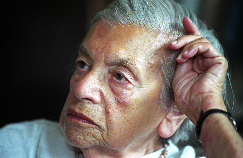 """Lenka Reinerova, pictured in 2004 as the oldest living German-language writer in Prague, in her apartment located in Prague Smichov. She came to know some of the extraordinary literary figures of Prague at the time, including Franz Kafka's friend, Max Brod, and the famous """"roving reporter"""" Egon Erwin Kisch. Lenka Reinerova died June 27, 2008 in Prague at the age of 92."""