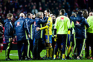 17.11.2015. Copenhagen, Denmark. <br /> Zlatan Ibrahimovic and Sweden's coach Erik Hamrén celebrates their UEFA EURO 2016 qualification at the end of their UEFA EURO 2016 play-off second leg against Denmark at the Telia Parken Stadium. <br /> Photo: © Ricardo Ramirez.