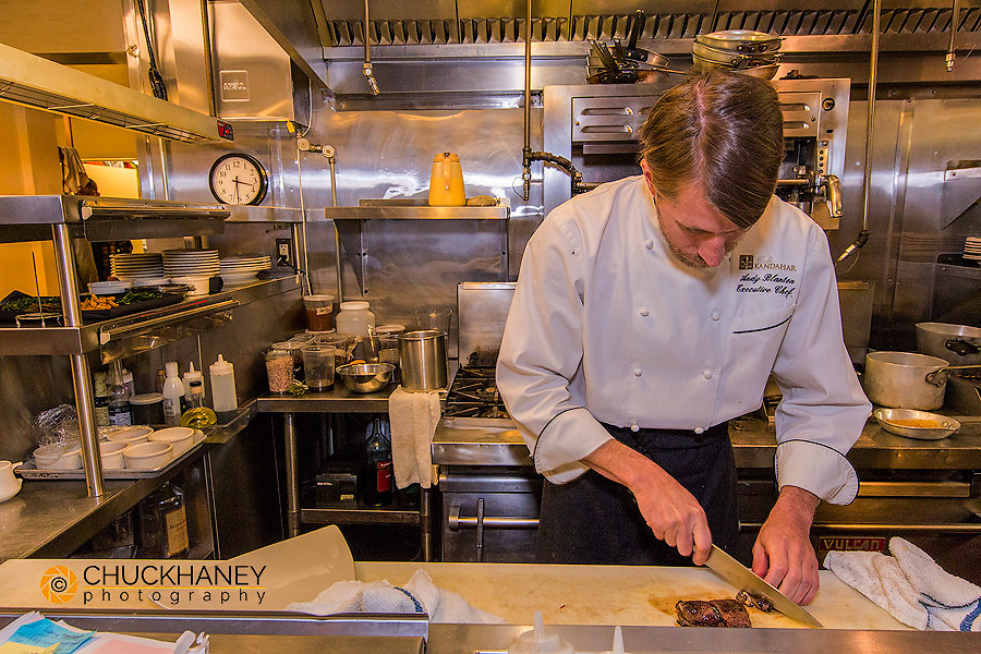 Chef Andy Blanton at Cafe Kandahar on big Mountain in Whitefish, Montana, USA