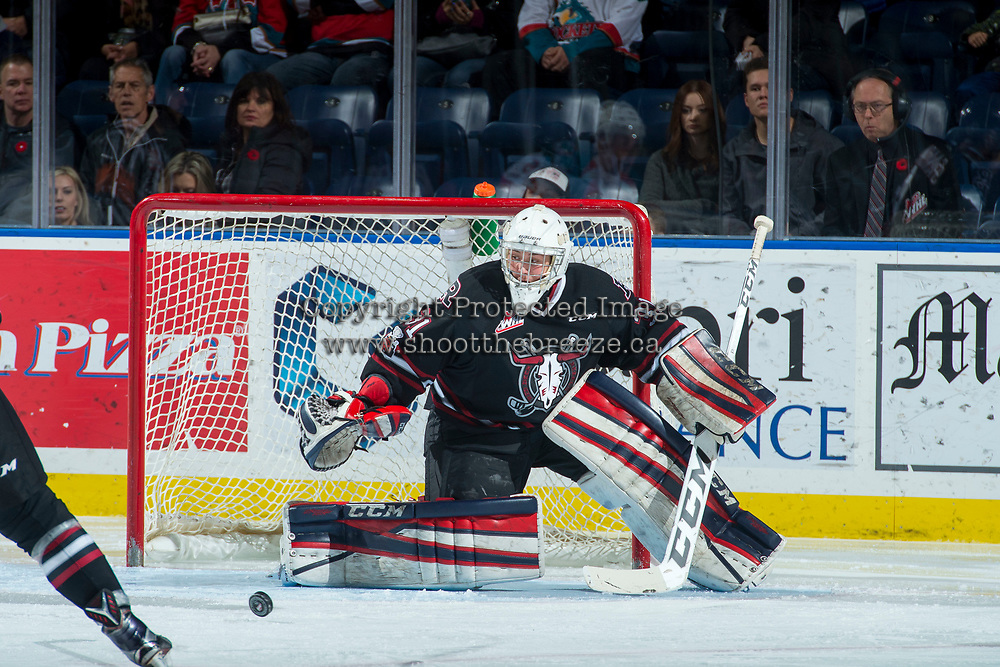 KELOWNA, CANADA - NOVEMBER 11: Ethan Anders #31 of the Red Deer Rebels makes a save during second period against the Kelowna Rockets on November 11, 2017 at Prospera Place in Kelowna, British Columbia, Canada.  (Photo by Marissa Baecker/Shoot the Breeze)  *** Local Caption ***