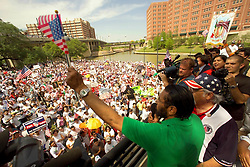 Stock photo of U.S Representative Al Green (D) adressing thousands of protesters at Allen's Landing in downtown Houston to advocate the rights for immigrants.