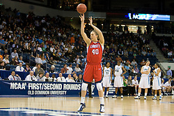 Liberty guard/forward Megan Frazee (40) shoots two free throws after ODU was assessed a technical foul before the start of the game for a roster violation.  The #5 seed Old Dominion Lady Monarchs defeated the #12 seed Liberty Flames 82-62 in the first round of the 2008 NCAA Division 1 Women's Basketball Championship in Norfolk, VA on March 23, 2008