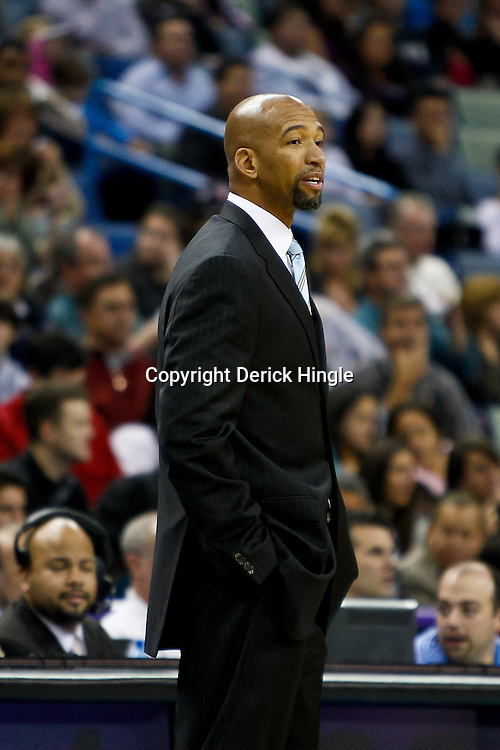 December 3, 2010; New Orleans, LA, USA; New Orleans Hornets head coach Monty Williams during the first half against the New York Knicks at the New Orleans Arena. The Knicks defeated the Hornets 100-92. Mandatory Credit: Derick E. Hingle