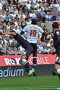 Emile Heskey with one of the first touches of the ball during the Sky Bet Championship match between Bolton Wanderers and Derby County at the Macron Stadium, Bolton, England on 8 August 2015. Photo by Mark Pollitt.