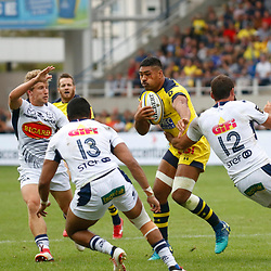 Fritz Lee of Clermont and Tamaw Mchedlidze of Agen during Top 14 match between Clermont and Agen on August 25, 2018 in Perpignan, France. (Photo by Romain Biard/Icon Sport)