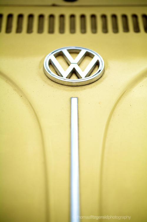 The patterns and lines of the hood of an old VW beetle inspire as art