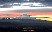 Early morning sunrise with Mt. Rainier and the Kent Valley below. (Steve Ringman / The Seattle Times)