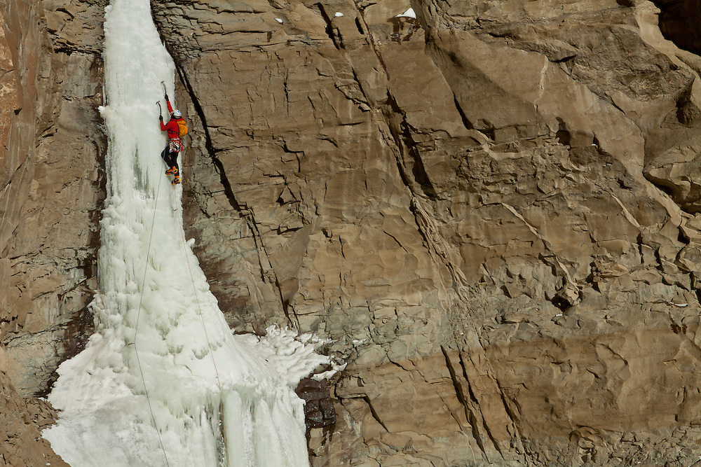 Kevin Craig climbing the third WI3+ pitch of the Cody, Wyoming classic ice climb Broken Hearts
