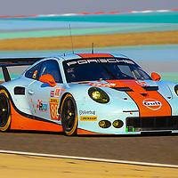 #86, Gulf Racing, Porsche 911 RSR(991), driven by: Michael Wainwright, Ben Barker, Nick Foster, WEC BAPCO 6 Hours of Bahrain, 16/11/2017,