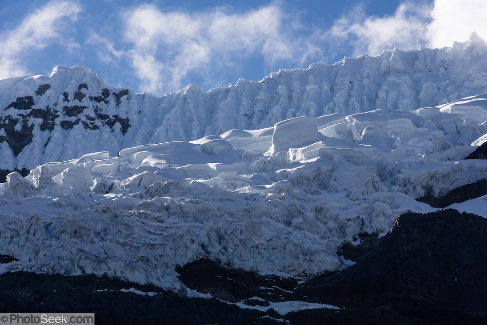 Glaciers of Pucarashta hang above Alpamayo Valley in the Cordillera Blanca, Andes Mountains, Peru, South America. Day 7 of 10 days trekking around Alpamayo, in Huascaran National Park (UNESCO World Heritage Site).