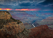 Lightning strikes at sunset near the rim of Grand Canyon. From Hopi Point on the South Rim of Grand Canyon National Park.