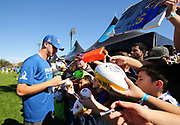 Jan 24, 2018; Kissimmee, FL, USA; Los Angeles Rams quarterback Jared Goff (16) signs autographs for fans after practice for the 2018 Pro Bowl at ESPN Wide World of Sports Complex. (Steve Jacobson/Image of Sport)