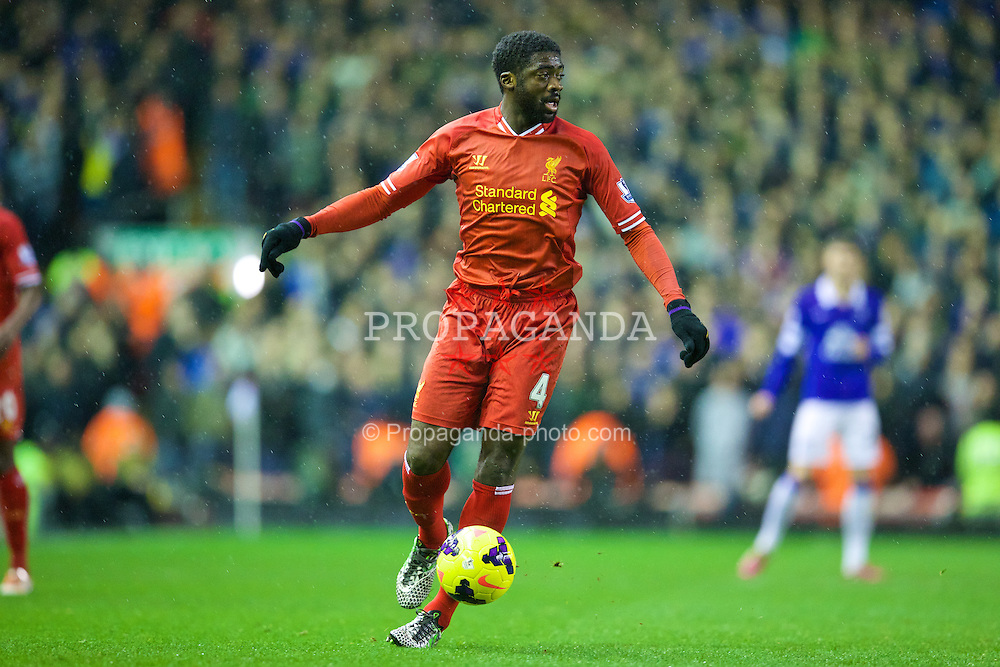 LIVERPOOL, ENGLAND - Tuesday, January 28, 2014: Liverpool's Kolo Toure in action against Everton during the 222nd Merseyside Derby Premiership match at Anfield. (Pic by David Rawcliffe/Propaganda)