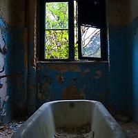 Derelict bathroom in Soviet hospital