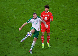 CARDIFF, WALES - Thursday, September 6, 2018: Wales' Tyler Roberts (right) and Republic of Ireland's Shane Duffy during the UEFA Nations League Group Stage League B Group 4 match between Wales and Republic of Ireland at the Cardiff City Stadium. (Pic by Laura Malkin/Propaganda)