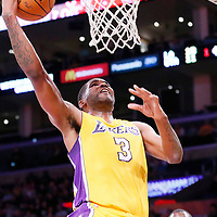 11 February 2014: Los Angeles Lakers power forward Shawne Williams (3) goes for the dunk during the Utah Jazz 96-79 victory over the Los Angeles Lakers at the Staples Center, Los Angeles, California, USA.
