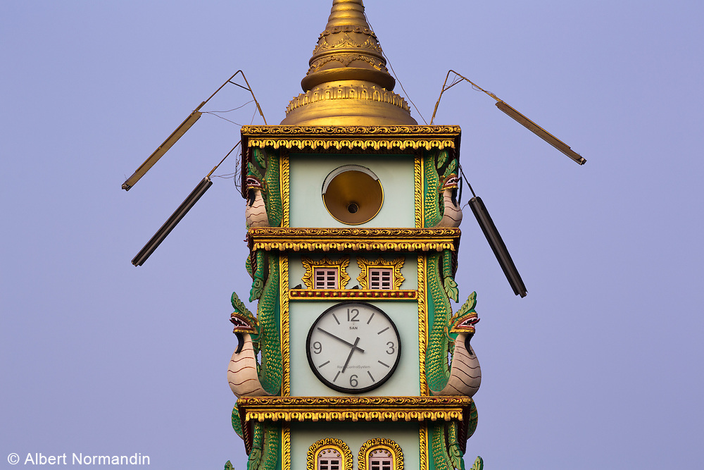 Art Deco clock tower in centre of town, Monywa