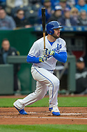 March 29, 2018 - Kansas City, MO, U.S. - KANSAS Kansas City, MO - MARCH 29: Kansas City Royals third baseman Mike Moustakas (8) watches the ball after a hit during the major league opening day game against the Chicago White Sox on March 29, 2018 at Kauffman Stadium in Kansas City, Missouri. (Photo by William Purnell/Icon Sportswire) (Credit Image: © William Purnell/Icon SMI via ZUMA Press)