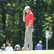 Jordan Spieth, USA, reacts to a putt during the second round of The Barclays Golf Tournament at The Plainfield Country Club, Edison, New Jersey, USA. 28th August 2015. Photo Tim Clayton