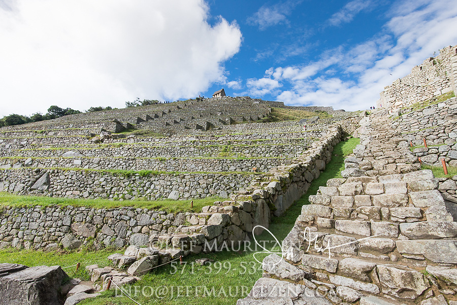 Looking up at the many terraces of the Inca citadel of Machu Picchu.