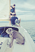 Young children learning to sail on Flathead Lake