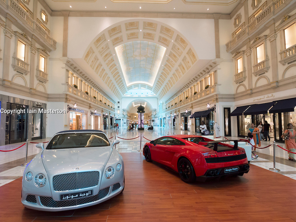 Luxury cars on display at upmarket Villaggio shopping mall in Doha Qatar