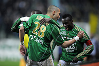 FOOTBALL - FRENCH CHAMPIONSHIP 2009/2010 - L1 - AS SAINT ETIENNE v LE MANS UC - 3/04/2010 - PHOTO JEAN MARIE HERVIO / DPPI - JOY YOHAN BENALOUANE (ASSE) AFTER HIS GOAL