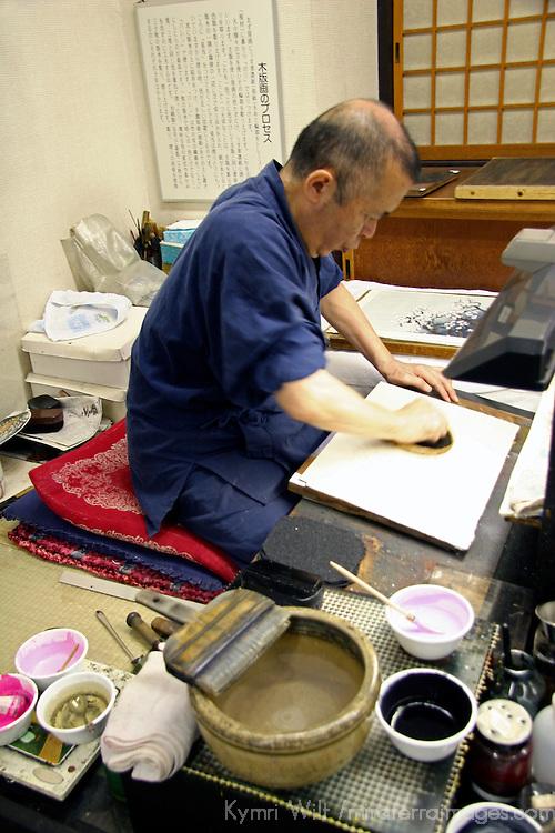 Asia, Japan, Kyoto. Japanese artist in his studio.
