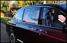 DEC 30 2012 The Queen arriving to church on the Sandringham Estate