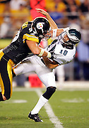 PITTSBURGH - AUG 15:  Defensive end Brett Keisel #99 of the Pittsburgh Steelers nearly sacks quarterback Koy Detmer #10 of the Philadelphia Eagles during a preseason game at Heinz Field in Pittsburgh, Pennsylvania on August 15, 2005. The Steelers defeated the Eagles 38-31. ©Paul Anthony Spinelli *** Local Caption *** Brett Keisel, Koy Detmer