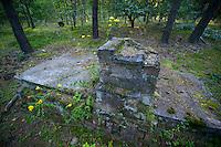 Ruin of a prisoner barrack in German POW camp Stalag Luft 3.