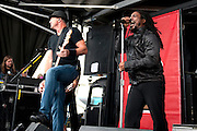Sevendust performing at the First Midwest Bank Amphitheater in Tinley Park, IL on the Uproar Tour on September 18, 2011