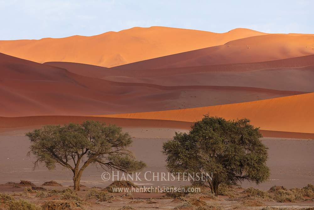 The giant sand dunes of Namibia turn many shades of red and orange under shifting clouds, Namib-Naukluft National Park, Namibia.