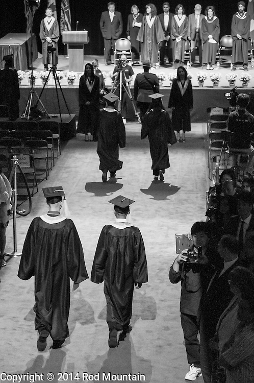 The scene as captured during a high school graduation ceremony at the Bill Copeland Sports Centre. Burnaby, BC<br />