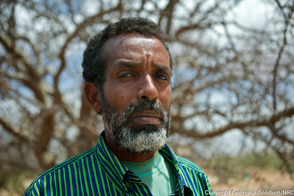 Abdinoor Ibrahim Santur  49 . Arrived 15 months ago in Dadaab's camp set up for new arrivals Ifo Extension (Ifo 2) and has now become a community leader represents 7 blocks in this camp. Portraits taken by the Norwegian Refugee Council of refugees interviewed in Dadaab for research on drought and climate change. Dadaab is the world's largest refugee camp with 464,000 registered refugees, 115,000 of which arrived in 2011 from southern Somalia due to conflict and drought. 28 May 2012.