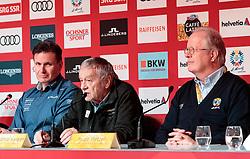 05.02.2017, St. Moritz, SUI, FIS Weltmeisterschaften Ski Alpin, St. Moritz 2017, Eröffnungs Pressekonferenz LOC, im Bild v.l. Dr. Urs Lehmann (Präsident Swiss Ski), Gian Franco Kasper (FIS Präsident), Dr. Urs Lehmann (Präsident Swiss Ski), Hugo Wetzel (Präsident OK St. Moritz) // f.l. Gian Franco Kasper president of the International Ski Federation Dr. Urs Lehmann (Präsident Swiss Ski) Hugo Wetzel (President of OK St. Moritz) during a press conference of LOC prior to the FIS Ski World Championships 2017. St. Moritz, Switzerland on 2017/02/05. EXPA Pictures © 2017, PhotoCredit: EXPA/ Johann Groder